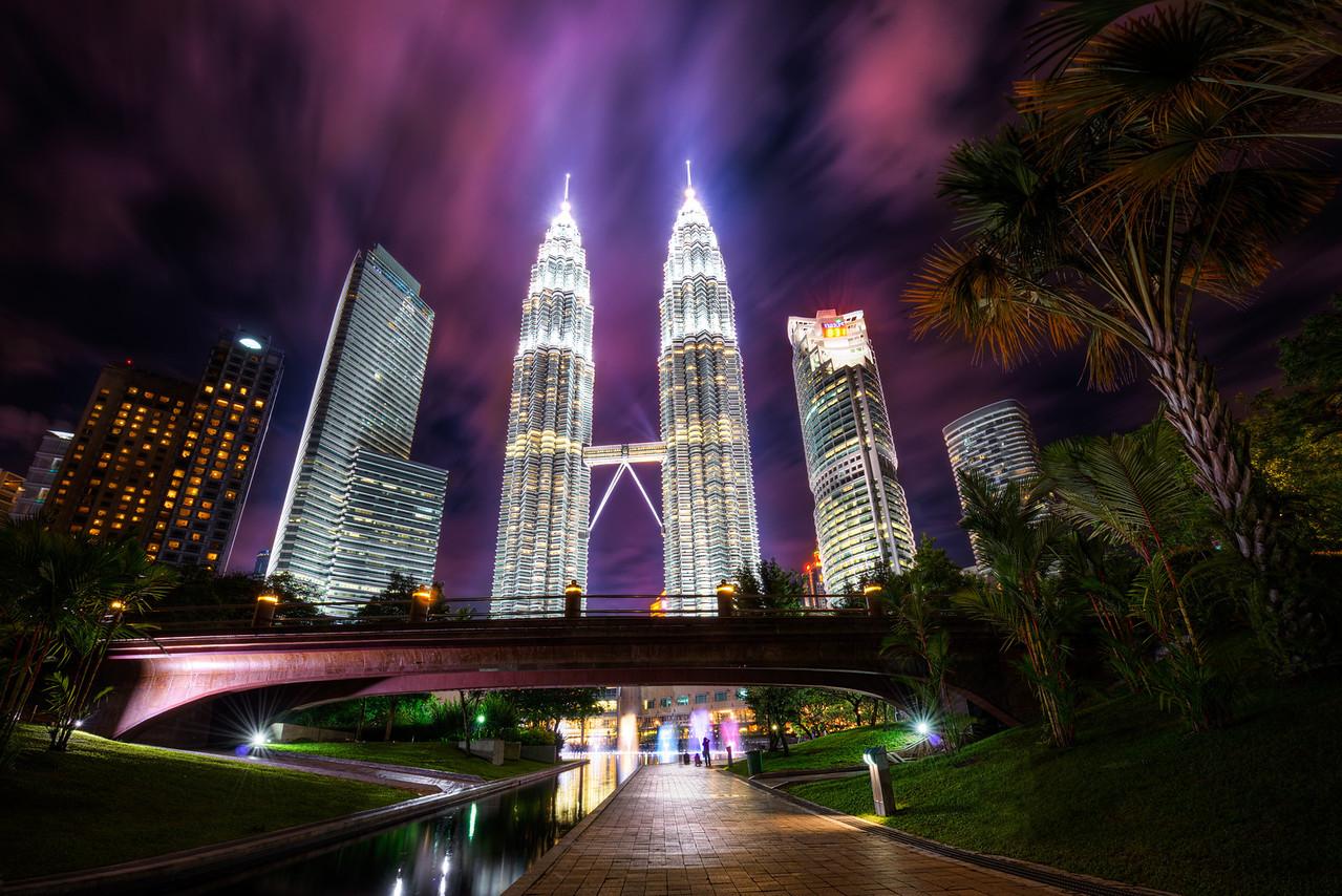 A nuclear storm over the Petronas Towers.  Kuala Lumpur, Malaysia