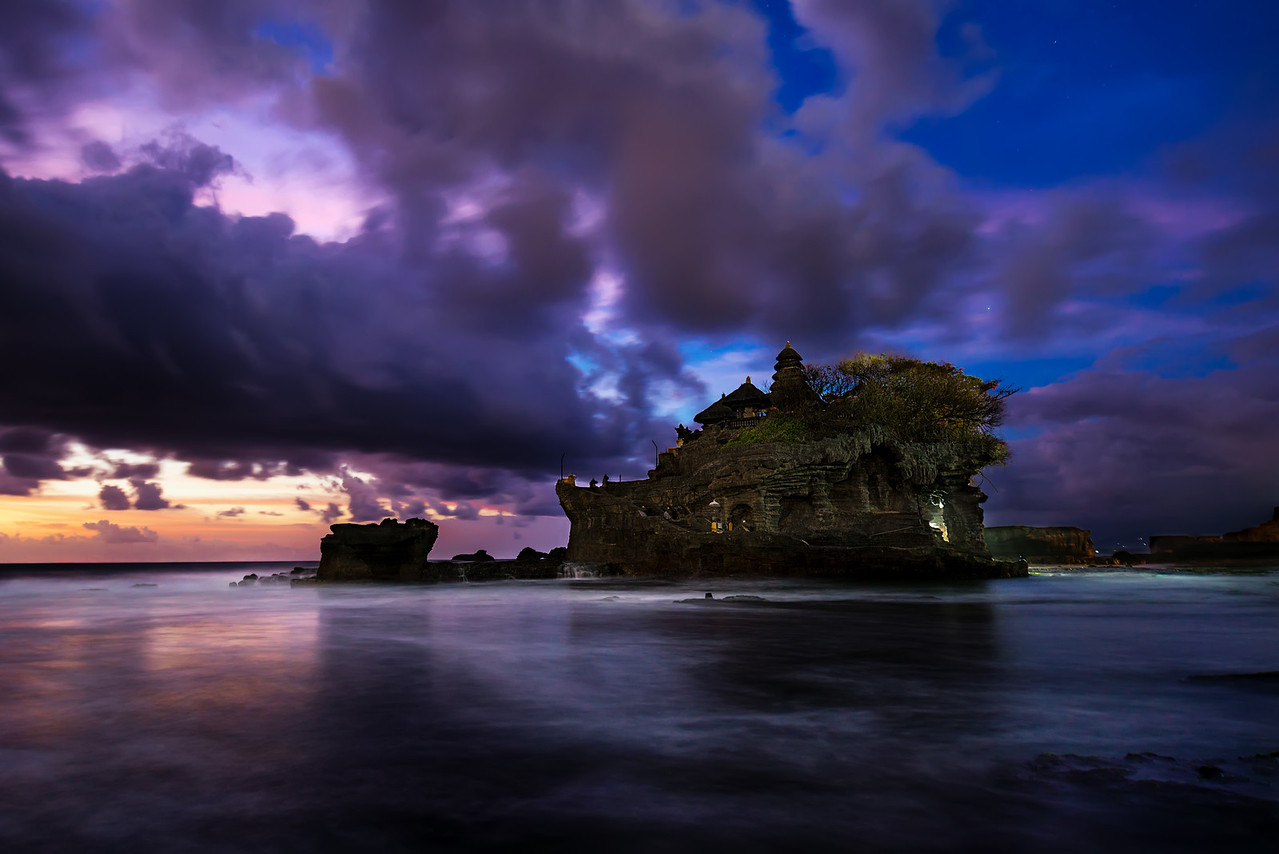 Sureal Twilight over Tanah Lot Sea Temple.  Bali, Indonesia
