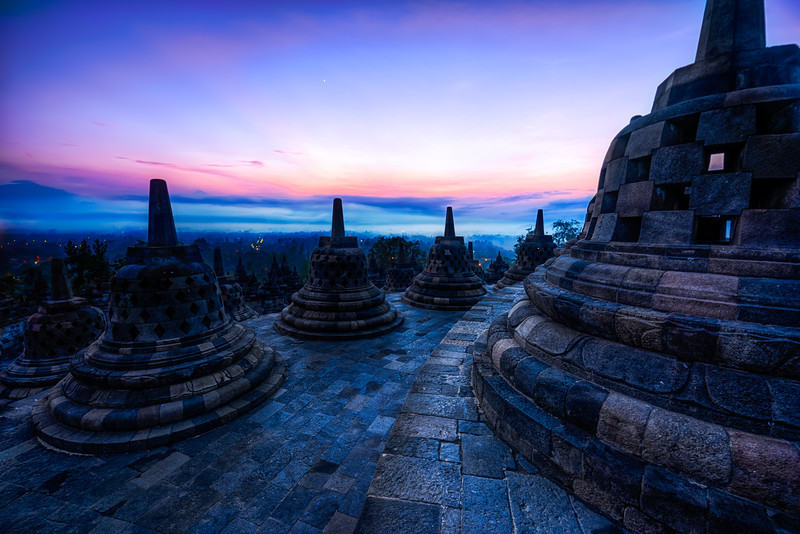 The bells of Borobudur.  Borobudur, Indonesia