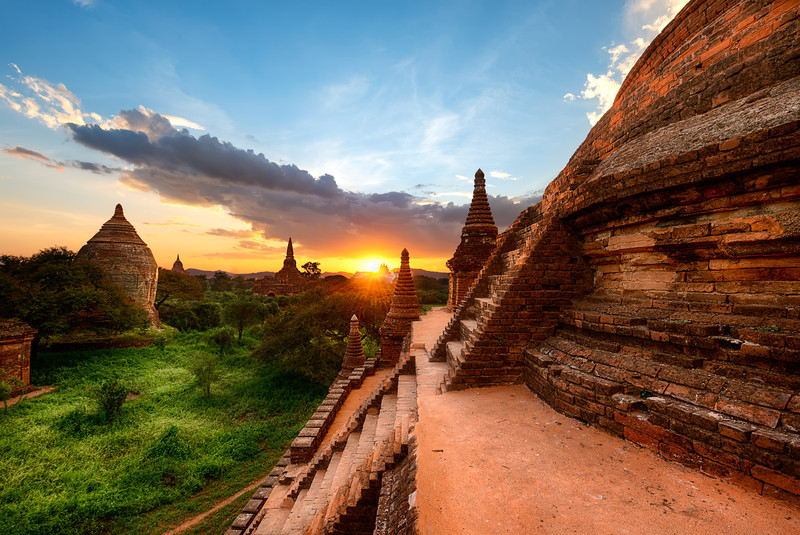 A ancient pyramid temple sunset Bagan, Myanmar