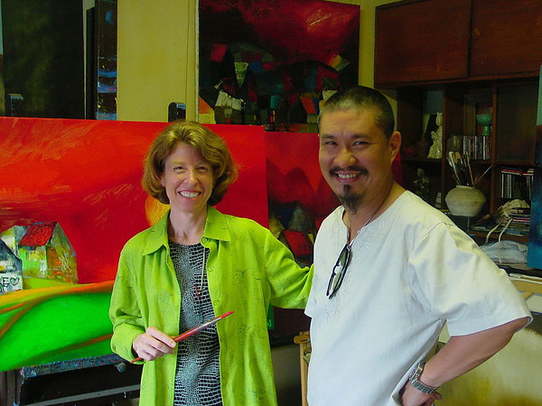 "I didn't actually touch the painting with the brush although Phong gave me the chance and challenge when I visited with him in his studio in May ...<br /> <br /> I loved spending time with Phong.  One of my favorite quotes was ""Painting to me is blissful ... like falling in love ... ""<br /> <br /> Phong shared a picture of his two sons now 13 and 11 (who he adores) with me and was candid when talking about his life and background.  Thuy, his wife of 14 years is a physician and shares his passion for travel and architecture."