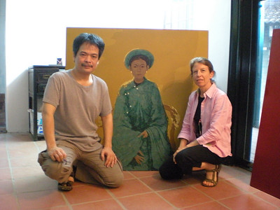 I visited with Bui Huu Hung during my latest trip to Vietnam.  We looked through several old books with his early pieces and talked about my desire to continue bringing his best works to Tokyo.  <br /> <br /> Hung has been both artistically and commercially successful and during our discussion, Hung promised to slow down for me - going back to his earlier professional days when each piece had specific meaning and was created from his heart.   <br /> <br /> Hungs best pieces stand out from all the others in subject matter, composition, color and detail.  They are truly a feast for the eyes.  We look forward to continuing to bring his best works to Tokyo - please email us with your requests and we will follow-up with him.