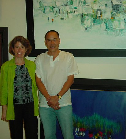 """Le Minh joined us on November 22nd for the opening of """"Through Their Eyes"""" Benefit Exhibition at Shinsei Bank.  His abstract cityscapes and fishing villages are vibrant and full of life and keep the viewer coming back to seek the subtle detail.<br /> <br /> When Minh is not painting, he can often be found taking photographs, fishing or spending time with his wife and young son. Fishing for Minh is an opportunity to be alone and to meditate and he often finds creative inspiration after spending time on the water.<br /> <br /> Le Minh is a talented and fun individual who wears and shares a genuine smile.  Those who met him in November  experienced his delightfully contagious personality."""