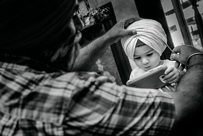 "Being ""digitally distracted"" helped getting ready this cute little sardar ji.  #apnavirsaturbanservice"