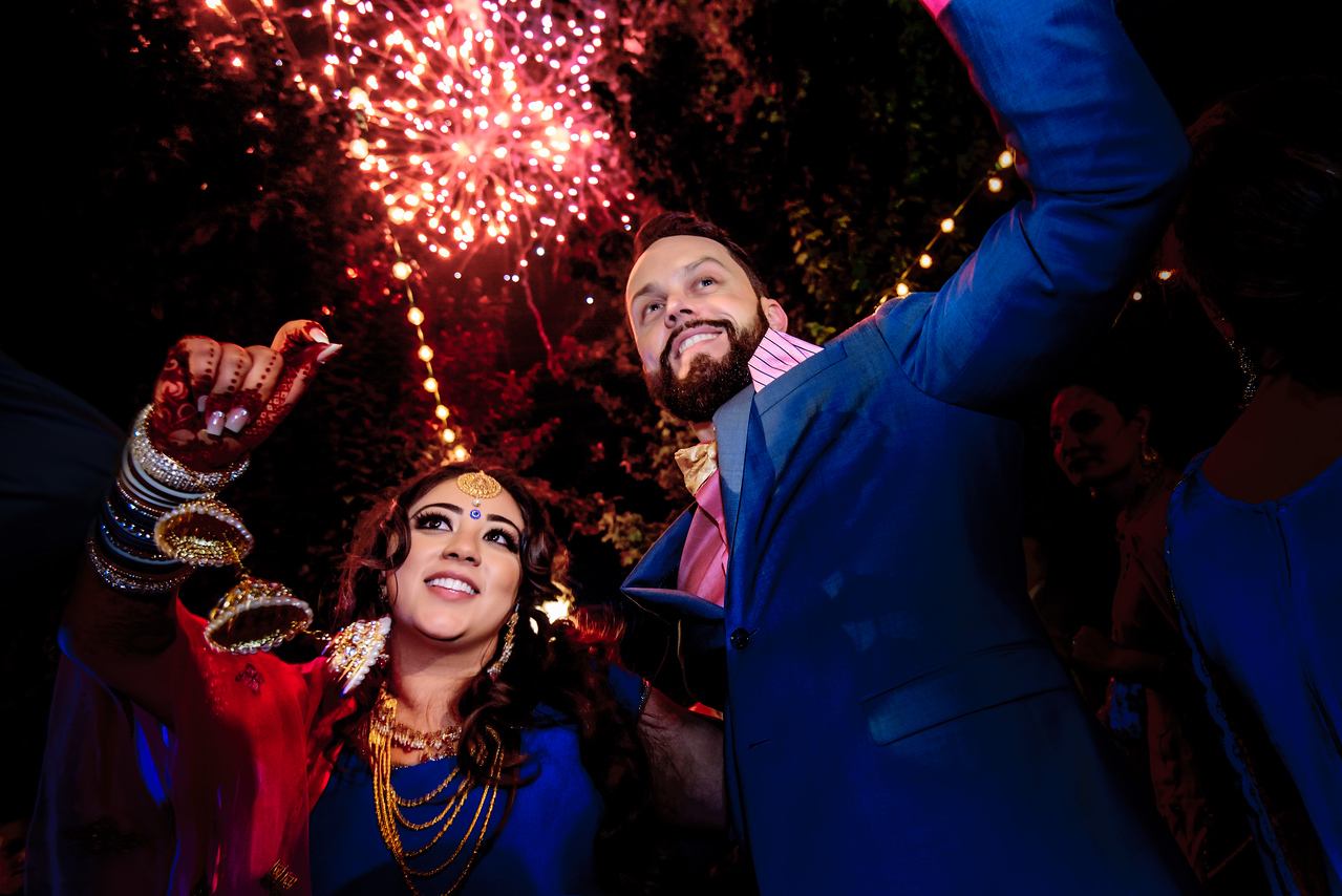 The fire on the ground was'nt enough (plz see our previous post), so we got it going with fire works in the sky as well. A spectacular light and sound show entertained the guests on the dance floor of this Sangeet night for @amrithadhatt and Adam @fitnesshalpers . Great job with the music @wickedentertainment