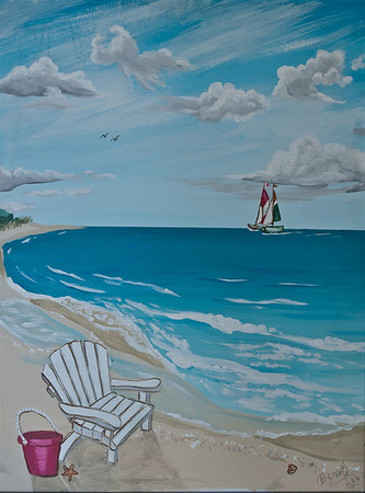 "Name: View to the beach (Part 1 of set) Medium: Acrylic with 1"" wide frame Size:  Price: $210 for the set Phone: 843-997-9917 Contact: April Bensch E-Mail: aprilbensch@sc.rr.com"