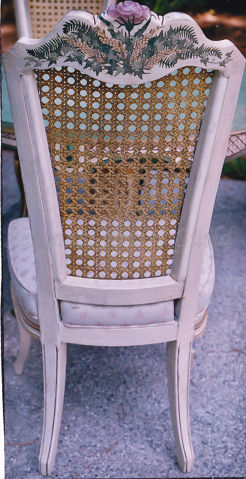 Contact: April Bensch<br /> Phone: 843-997-9917<br /> E-Mail: aprilbensch@sc.rr.com<br /> Refinished and hand painting dining chair