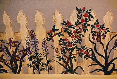 Contact: April Bensch Phone: 843-997-9917 E-Mail: aprilbensch@sc.rr.com Faux fence with flowers, call for mural pricing