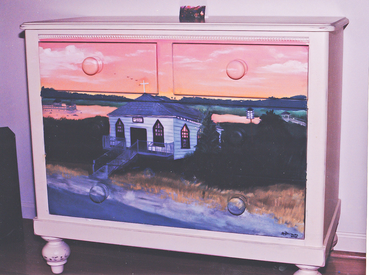 Contact: April Bensch<br /> Phone: 843-997-9917<br /> E-Mail: aprilbensch@sc.rr.com<br /> Dresser with Pawley's Chapel painting<br /> Call for furniture painting pricing