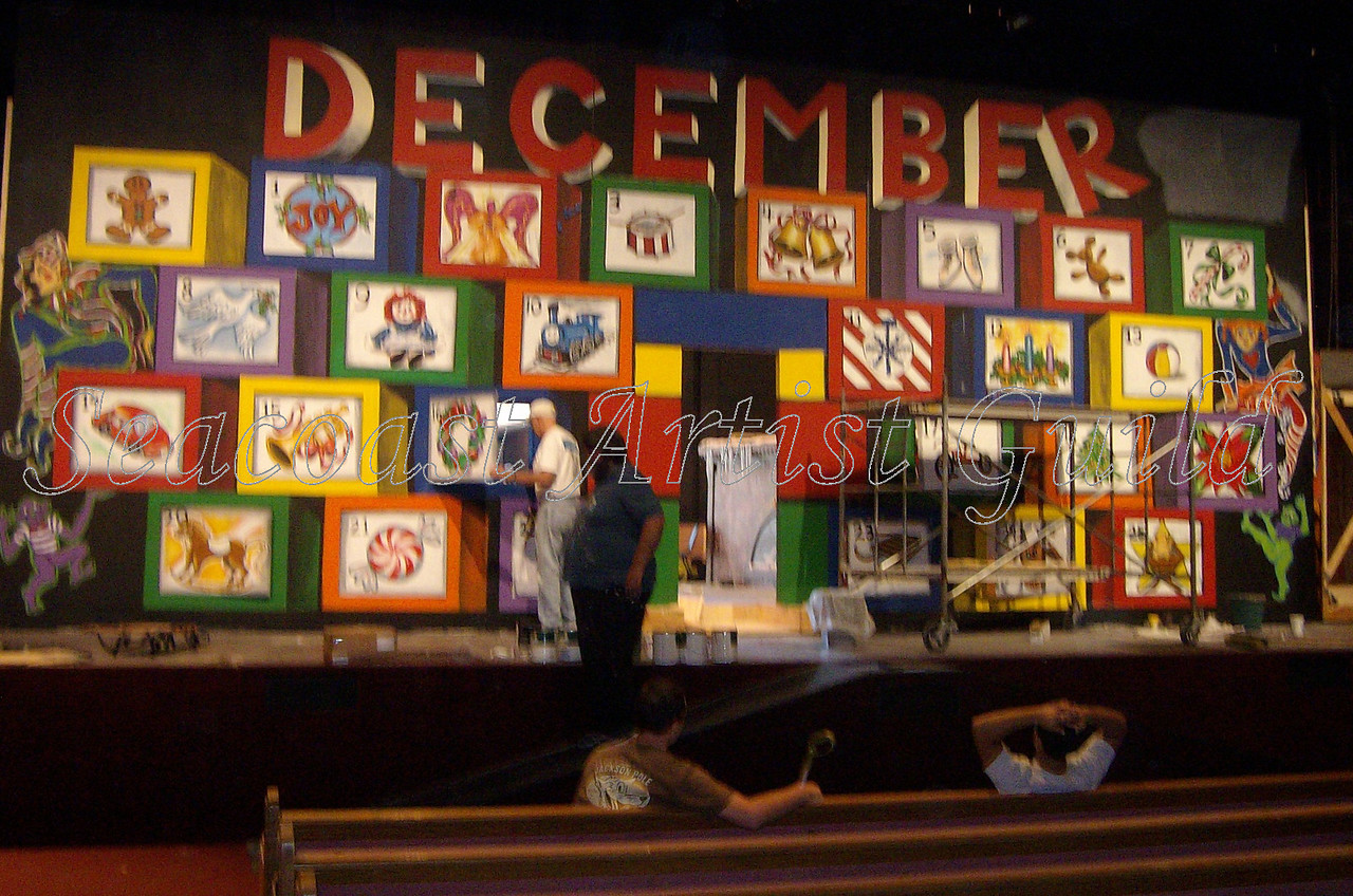 huge advent callendar set painted for Word of Life, Florida