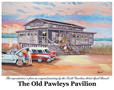 This limited reproduction is a painting of the Pawleys Island Pavilion by South Carolina Artist April Bensch.  This Pawleys Island Pavilion is believed to have been the last of four pavilions that provided beach-style entertainment to islanders and summer visitors dating back to the 1920s. Name: Pawleys Island Pavilion Medium: Watercolor Giclee of original painting in a custom frame Size: 16x20 Price: Call for pricing Contact: April Bensch Phone: 843-997-9917 E-Mail: aprilbensch@sc.rr.com