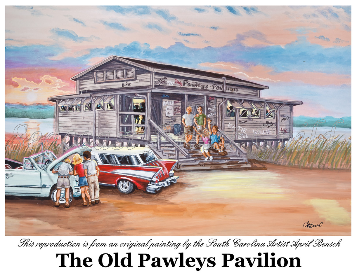 This limited reproduction is a painting of the Pawleys Island Pavilion by South Carolina Artist April Bensch.<br /> <br /> This Pawleys Island Pavilion is believed to have been the last of four pavilions that provided beach-style entertainment to islanders and summer visitors dating back to the 1920s.<br /> Name: Pawleys Island Pavilion<br /> Medium: Watercolor Giclee of original painting in a custom frame<br /> Size: 16x20<br /> Price: Call for pricing<br /> Contact: April Bensch<br /> Phone: 843-997-9917<br /> E-Mail: aprilbensch@sc.rr.com