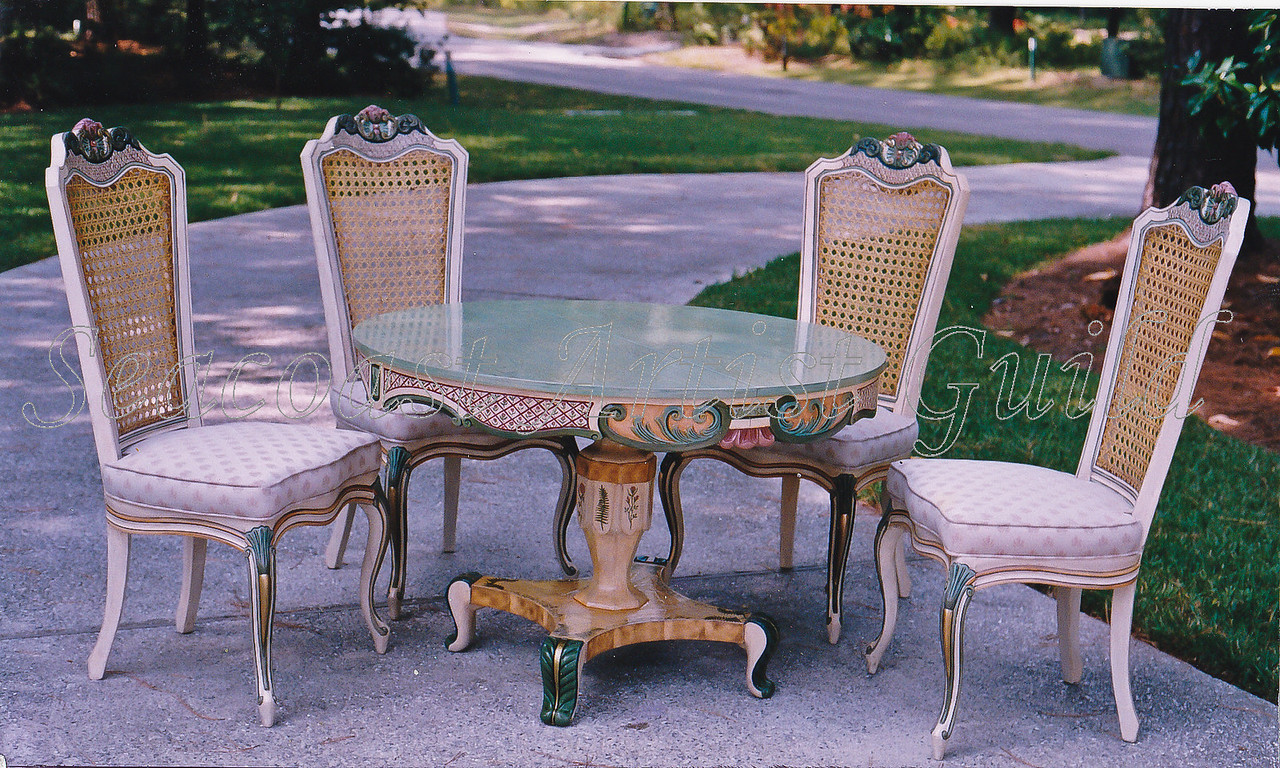 Contact: April Bensch<br /> Phone: 843-997-9917<br /> E-Mail: aprilbensch@sc.rr.com<br /> Hand painted chair and table set<br /> Call for refinishing and painting prices