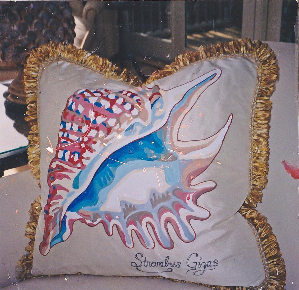 Contact: April Bensch<br /> Phone: 843-997-9917<br /> E-Mail: aprilbensch@sc.rr.com<br /> Hand painted silk shell pillow