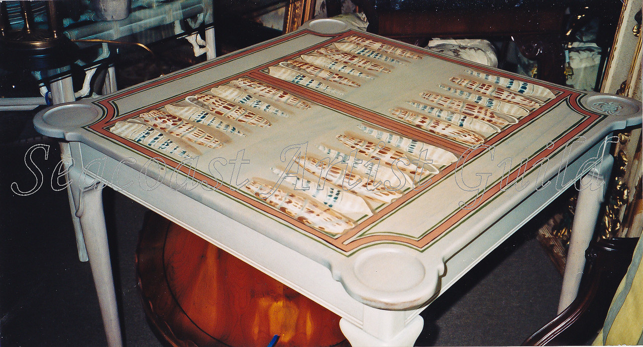Contact: April Bensch<br /> Phone: 843-997-9917<br /> E-Mail: aprilbensch@sc.rr.com<br /> backgammon table with shells<br /> Call for hand painting pricing