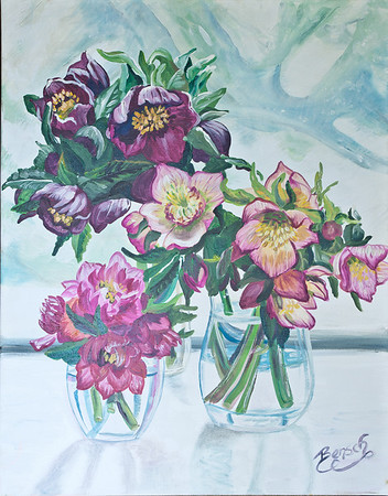 Name: Lenten Roses Medium: Acrylic Size:  Price: $275 Phone: 843-997-9917 Contact: April Bensch E-Mail: aprilbensch@sc.rr.com
