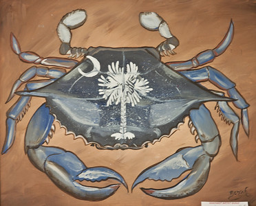 "Name: Carolina Crab Medium: Acrylic woth 3"" weathered white hardwood frame Size:  Price: $195 Phone: 843-997-9917 Contact: April Bensch E-Mail: aprilbensch@sc.rr.com"