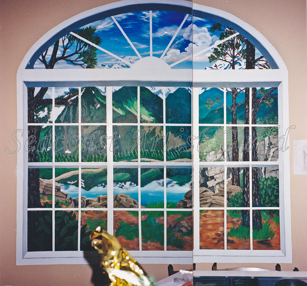 Contact: April Bensch<br /> Phone: 843-997-9917<br /> E-Mail: aprilbensch@sc.rr.com<br /> panneled demilune window w/ mountain scene<br /> Call for mural pricing