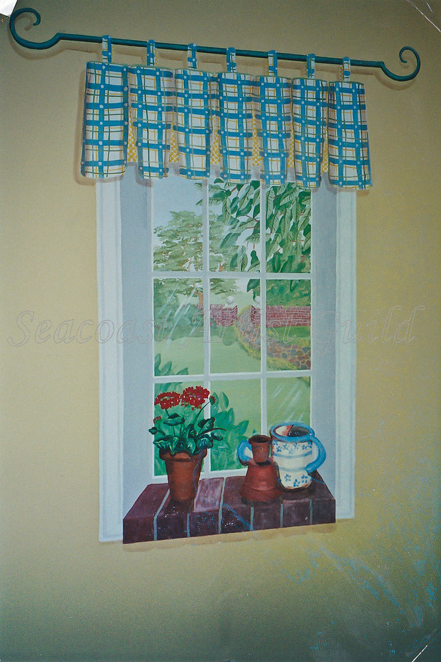 Contact: April Bensch<br /> Phone: 843-997-9917<br /> E-Mail: aprilbensch@sc.rr.com<br /> Faux panneled window including ledge and window treatment<br /> Call for mural pricing