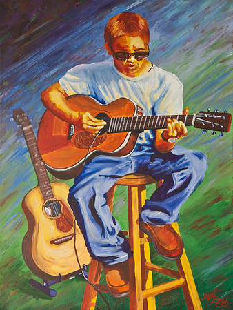 Name: Red Hot Blues Medium: Acrylic Size:  Price: $395 Phone: 843-997-9917 Contact: April Bensch E-Mail: aprilbensch@sc.rr.com  Inspired by a young man performing a benefit concert for an ailing friend.