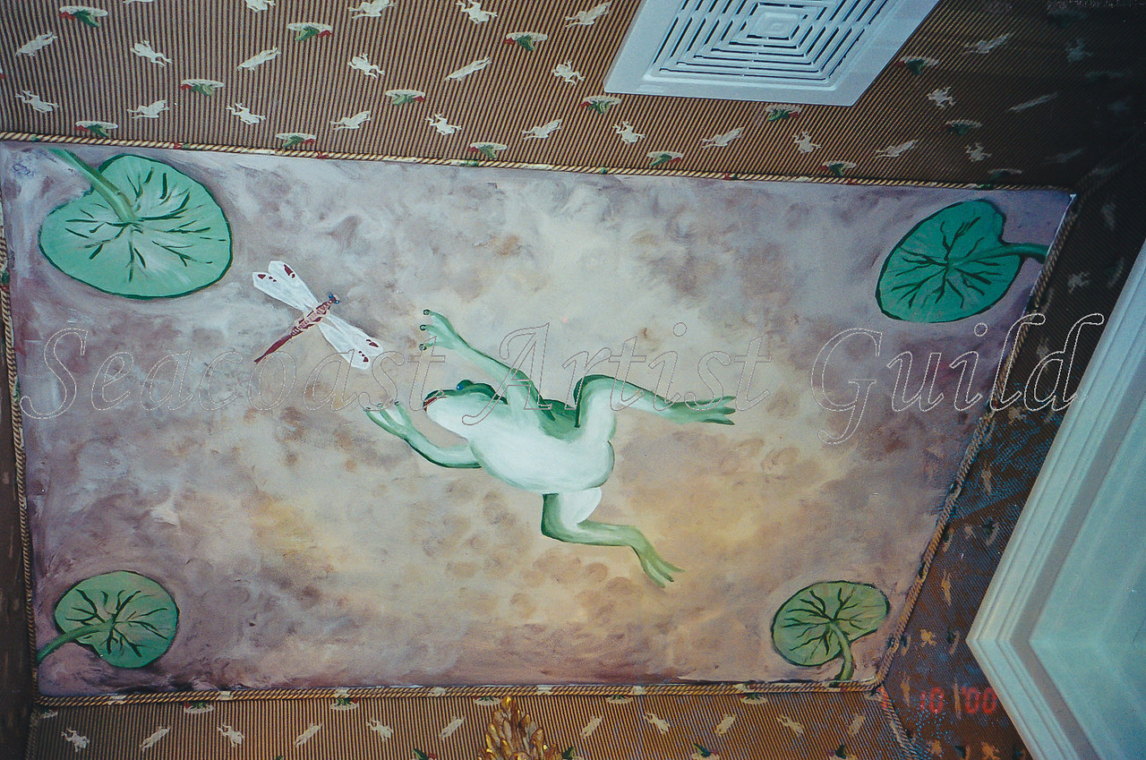Contact: April Bensch<br /> Phone: 843-997-9917<br /> E-Mail: aprilbensch@sc.rr.com<br /> leaping frog mural on ceiling of upholstered powder room