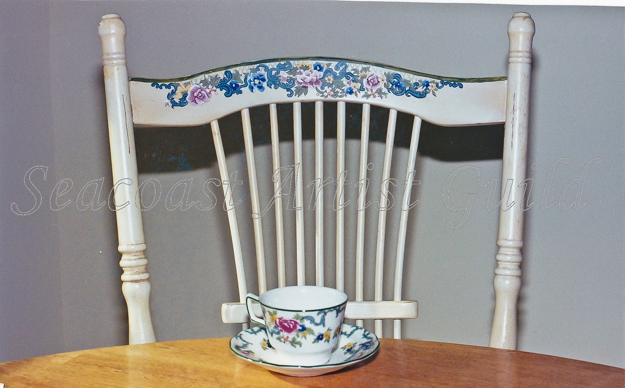 Contact: April Bensch<br /> Phone: 843-997-9917<br /> E-Mail: aprilbensch@sc.rr.com<br /> dining chair detailed to match fine china<br /> call for hand painting prices