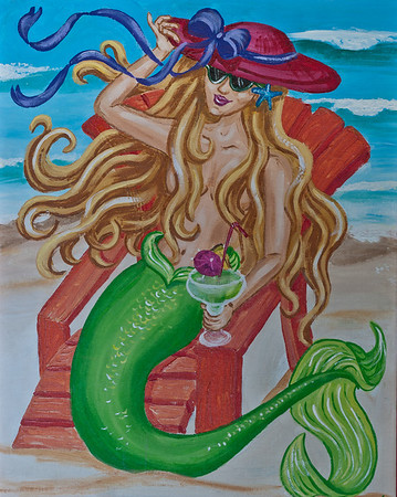 "Name: Memmaid on Vacation Medium: Acrylic with 1"" red frame Size:  Price: $98 Phone: 843-997-9917 Contact: April Bensch E-Mail: aprilbensch@sc.rr.com"