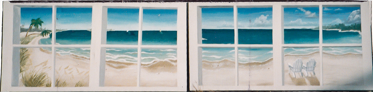 "Contact: April Bensch<br /> Phone: 843-997-9917<br /> E-Mail: aprilbensch@sc.rr.com<br /> ""canvas mural"" beach through paned windows scene. Call for ""portable mural"" pricing"