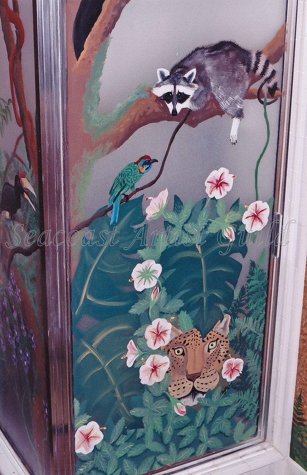 jungle mural including pet racoon portrait done in Permenamel product on shower door glass<br /> call for mural or decorative glass painting prices<br /> 843-997-9917<br /> aprilbensch@sc.rr.com