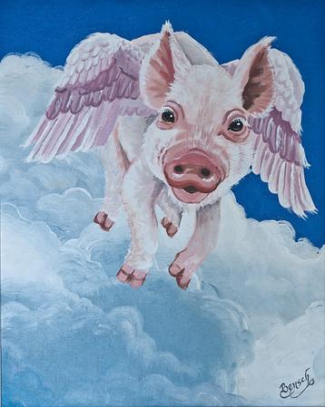 "Name: The Swine Flew Medium: Acrylic with 1/2"" white frame Size:  Price: $145 Phone: 843-997-9917 Contact: April Bensch E-Mail: aprilbensch@sc.rr.com"