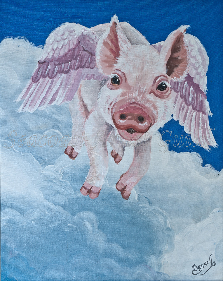 "Name: The Swine Flew<br /> Medium: Acrylic with 1/2"" white frame<br /> Size: <br /> Price: $145<br /> Phone: 843-997-9917<br /> Contact: April Bensch<br /> E-Mail: aprilbensch@sc.rr.com"
