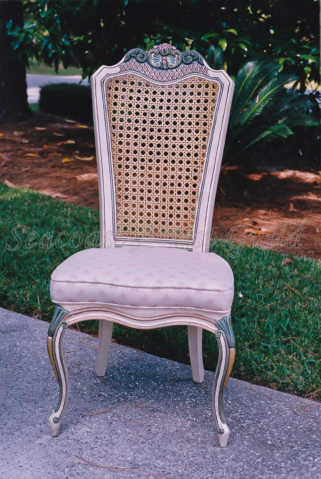 Contact: April Bensch<br /> Phone: 843-997-9917<br /> E-Mail: aprilbensch@sc.rr.com<br /> Refinished and hand painted dining chair<br /> Call for refinishing/ painting prices