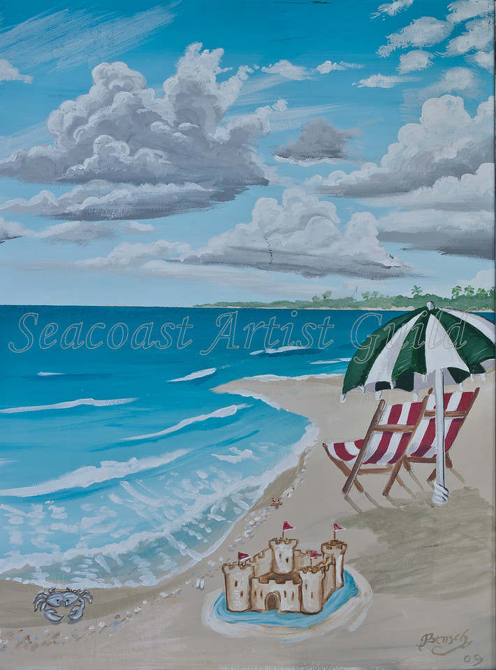 "Name: View to the Beach (Part 2 of set)<br /> Medium: Acrylic with 1"" weathered white frame<br /> Size: <br /> Price: $210 for the set<br /> Phone: 843-997-9917<br /> Contact: April Bensch<br /> E-Mail: aprilbensch@sc.rr.com"