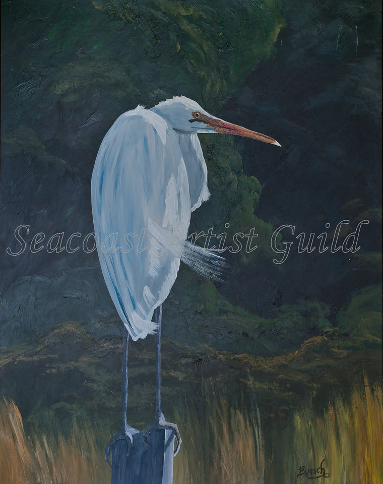 """Name: Great White Watcher<br /> Medium: Acrylic witn 1"""" weathered brown frame<br /> Size:<br /> Price: $135<br /> Phone: 843-997-9917<br /> Contact: April Bensch<br /> E-Mail: aprilbensch@sc.rr.com"""
