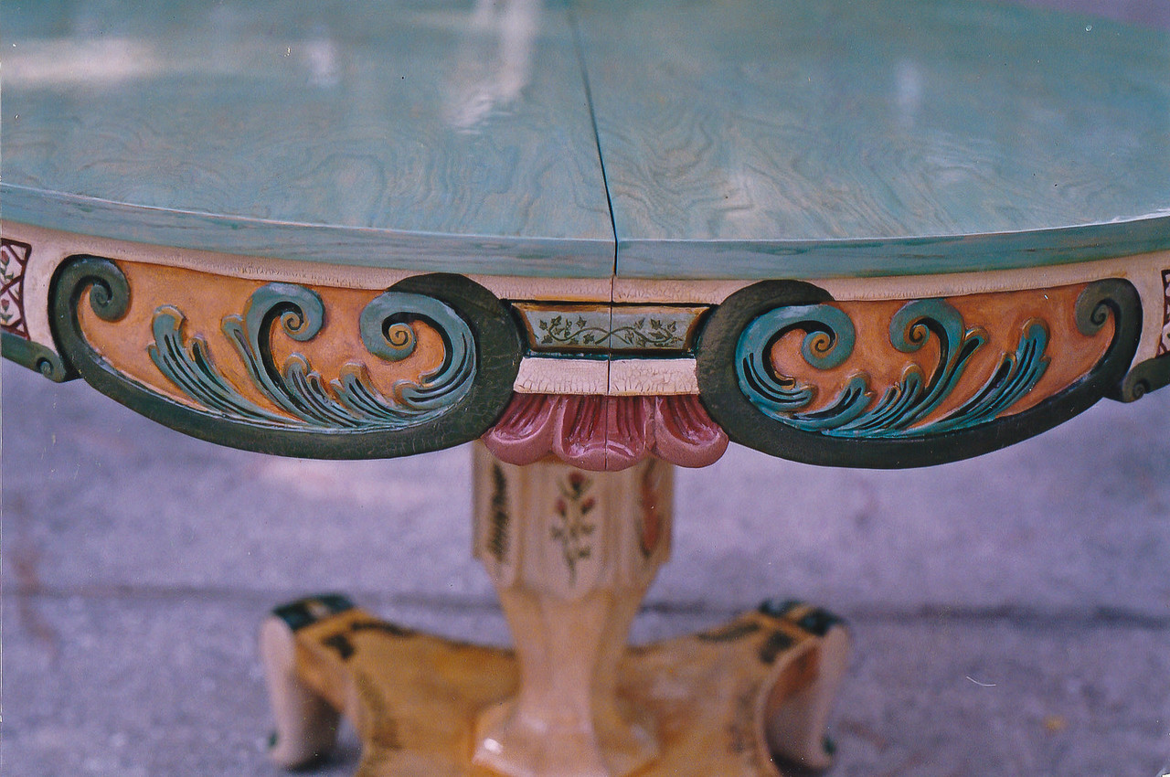 Contact: April Bensch<br /> Phone: 843-997-9917<br /> E-Mail: aprilbensch@sc.rr.com<br /> Close up of hand painted table with porcelain crackle finish