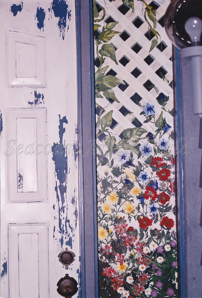 weathered door and mural of lattice and flowers painted on both sides of entryway glass with Permenamel product<br /> call for decoraltive glass /mural painting prices<br /> 843-997-9917<br /> aprilbensch@sc.rr.com