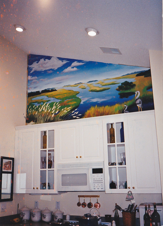 low country marsh mural over kitchen <br /> call for mural pricing<br /> 843-997-9917<br /> aprilbensch@sc.rr.com