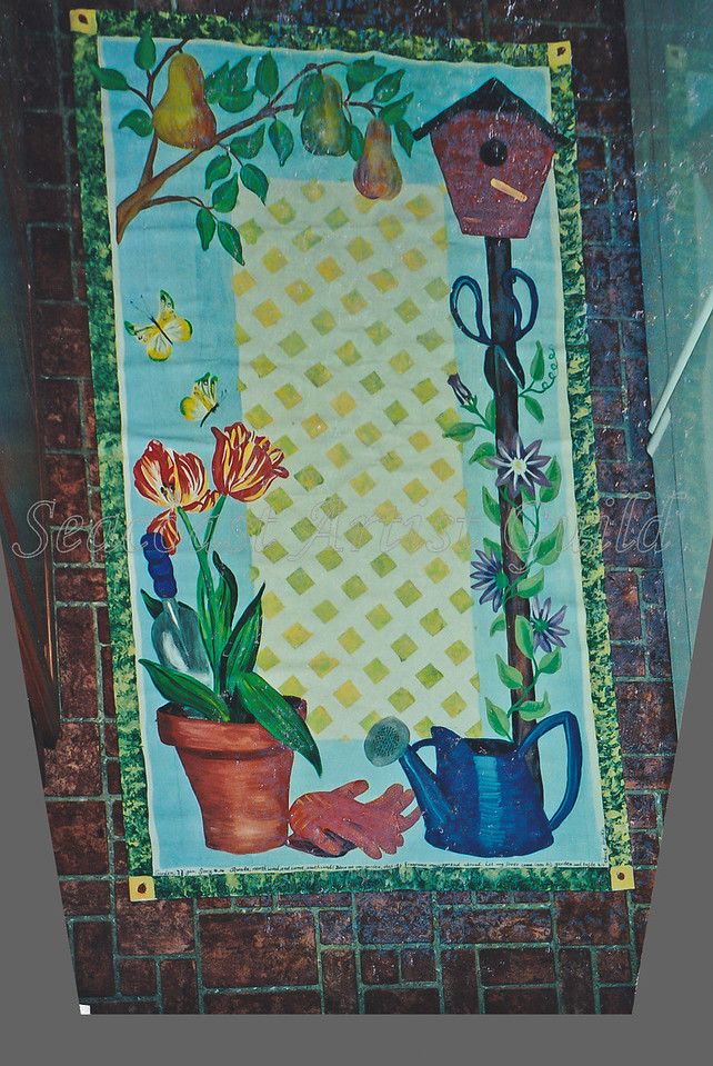 Contact: April Bensch<br /> Phone: 843-997-9917<br /> E-Mail: aprilbensch@sc.rr.com<br /> Garden motif canvas floor cloth<br /> Call for hand painted floorcloth pricing