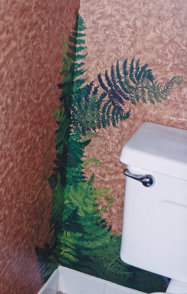 Contact: April Bensch<br /> Phone: 843-997-9917<br /> E-Mail: aprilbensch@sc.rr.com<br /> faux ferns on bath wall<br /> call for mural pricing