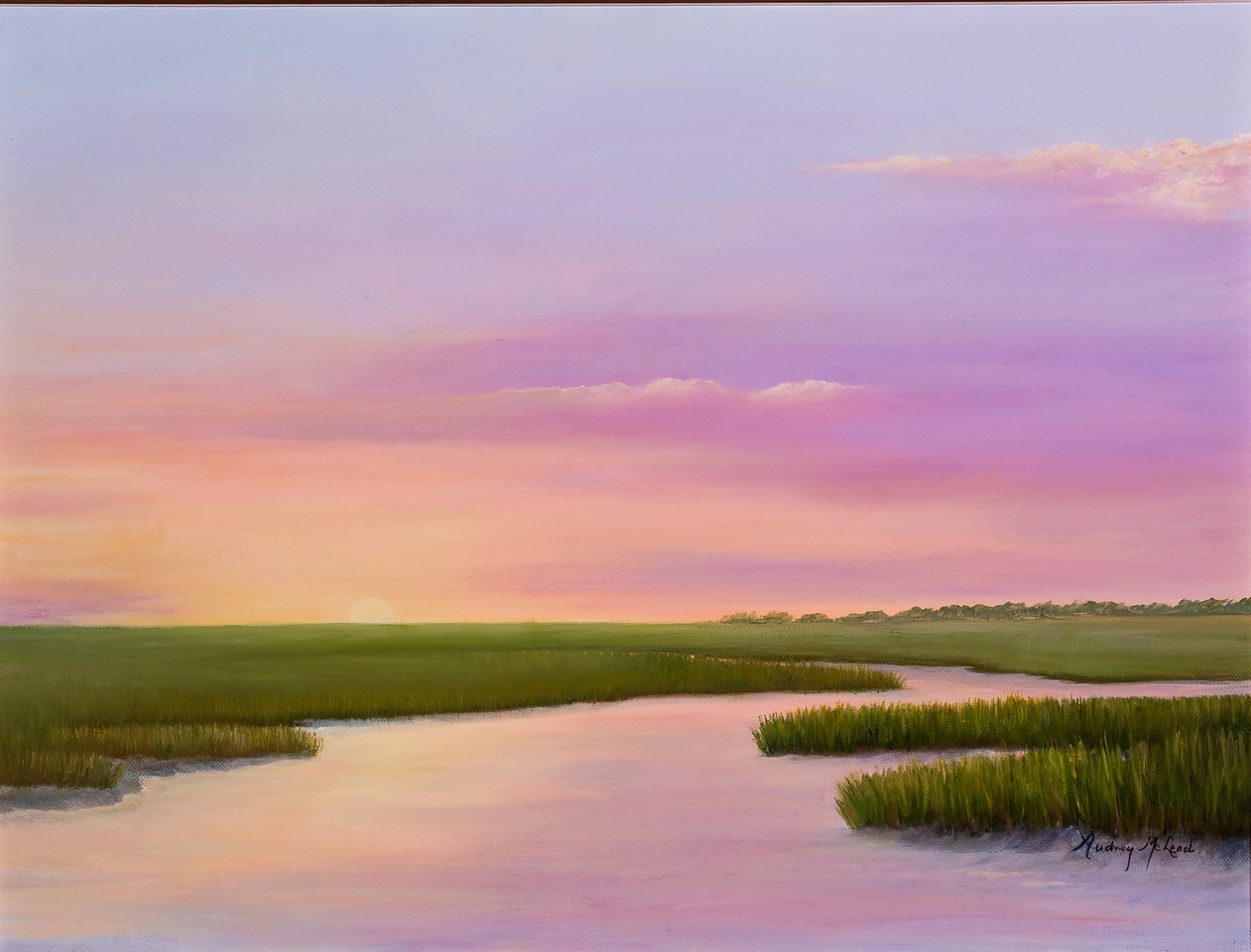 Name: Southern Sundown<br /> Medium: Oil<br /> Size: 18x24<br /> Price: $575<br /> Contact: Audrey McLeod<br /> E-Mail: riverartist@aol.com