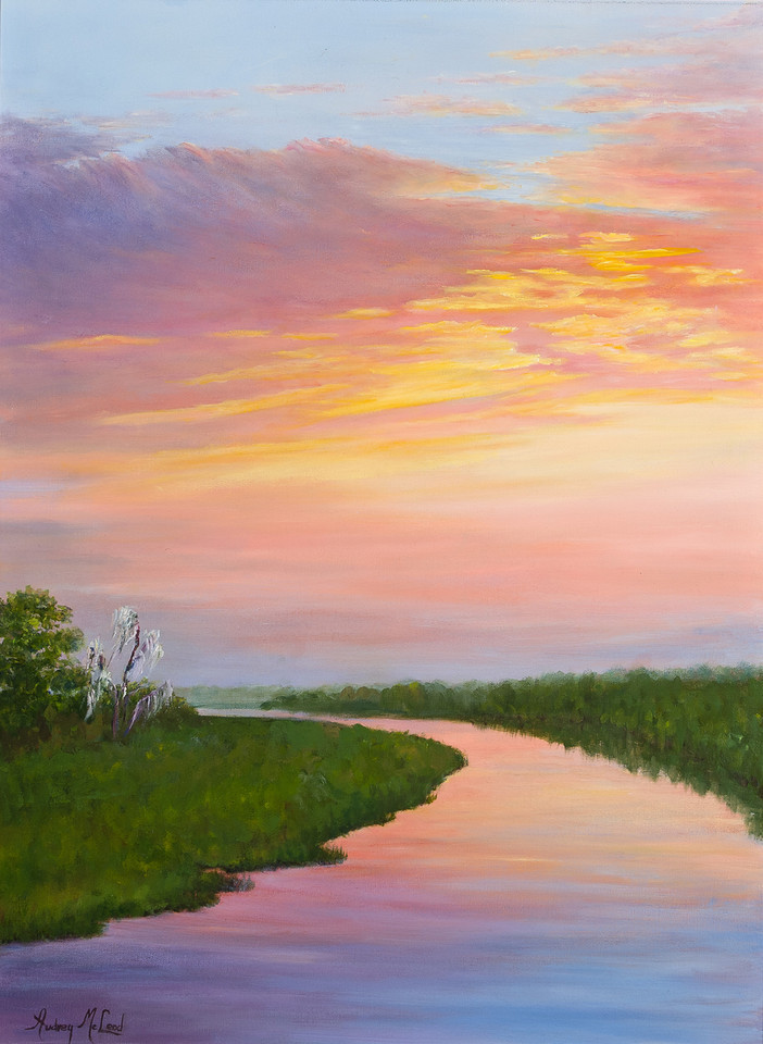 Name: River Sunset (SOLD)<br /> Medium: Oil<br /> Size: 18X24<br /> Price: $575.00<br /> Contact: Audrey McLeod<br /> E-Mail: riverartist@aol.com