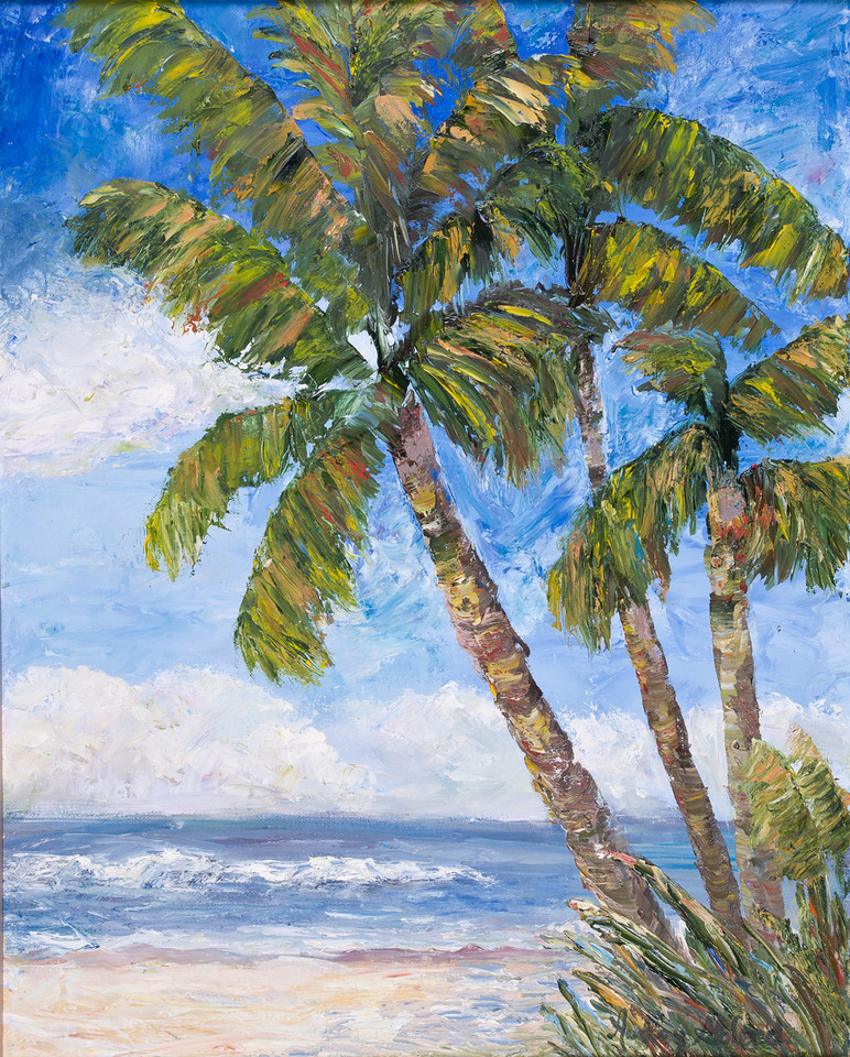 "Name: Palms on the Beach<br /> Medium: Oil<br /> Size: 16""X20""<br /> Price: $250.00<br /> Contact: Audrey McLeod<br /> E-Mail: riverartist@aol.com"