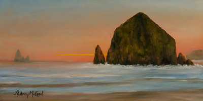 Name: Haystack Rock at Sunset Medium: Oil Size: 10 X 20 Price: $295  Contact: Audrey McLeod  E-Mail: riverartist@aol.com