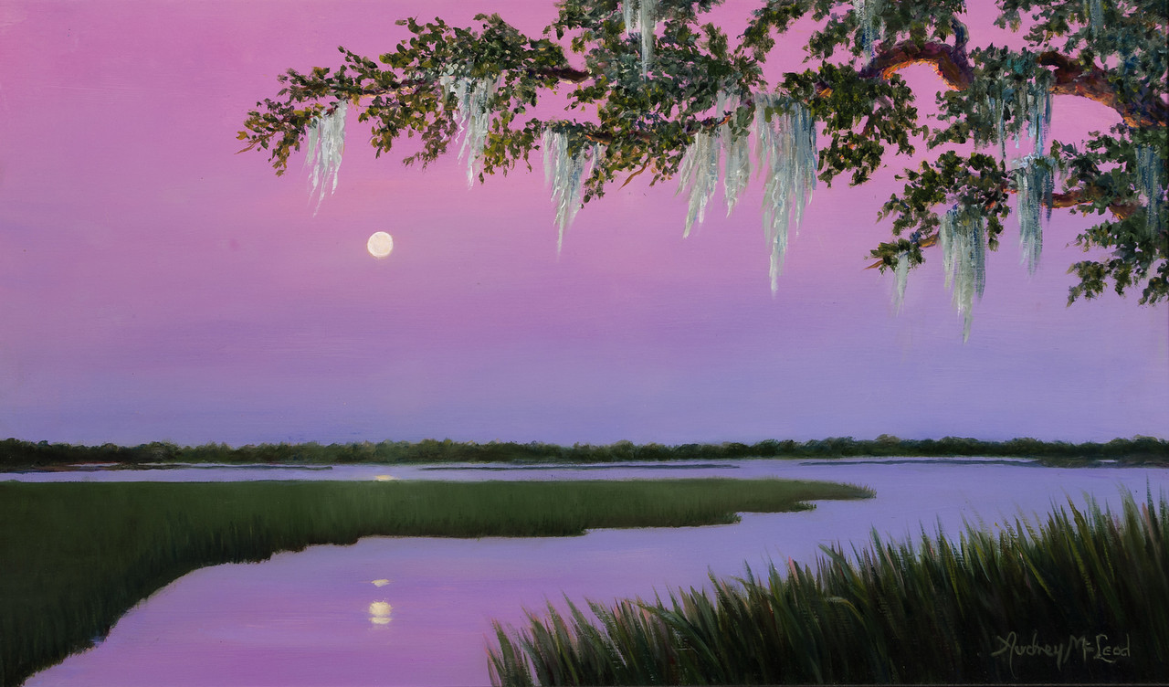 Name: Moonlit<br /> Medium: Oil<br /> Size: 14x24<br /> Price: $325<br /> Contact: Audrey McLeod<br /> E-Mail: riverartist@aol.com
