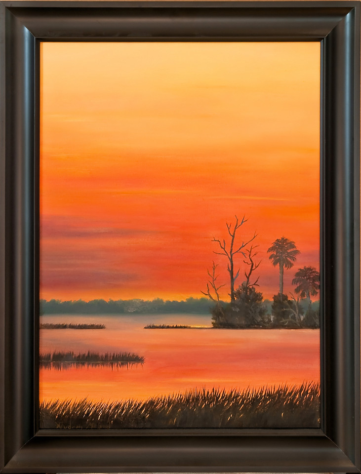 "Name: Golden Sunset (SOLD)<br /> Medium: Oil<br /> Size: 18""X24""<br /> Price: $300.00<br /> Contact: Audrey McLeod<br /> E-Mail: riverartist@aol.com"