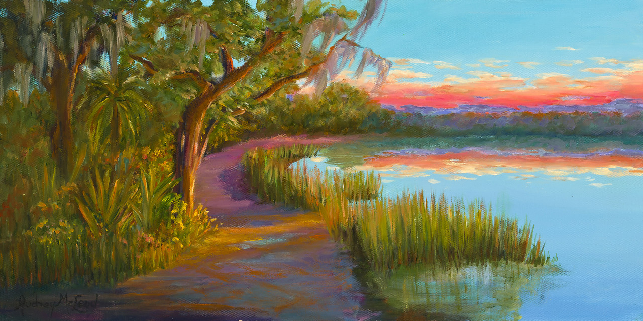 Name: Hunting Island Sunset<br /> Medium: Oil<br /> Size: 12 X 24<br /> Price: $ 350<br /> Contact: Audrey McLeod<br /> E-Mail: riverartist@aol.com