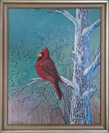 "Name: Snowy Day Cardinal Medium: Oil Size: 16""X20"" Price: SOLD! Contact: Audrey McLeod E-Mail: riverartist@aol.com"