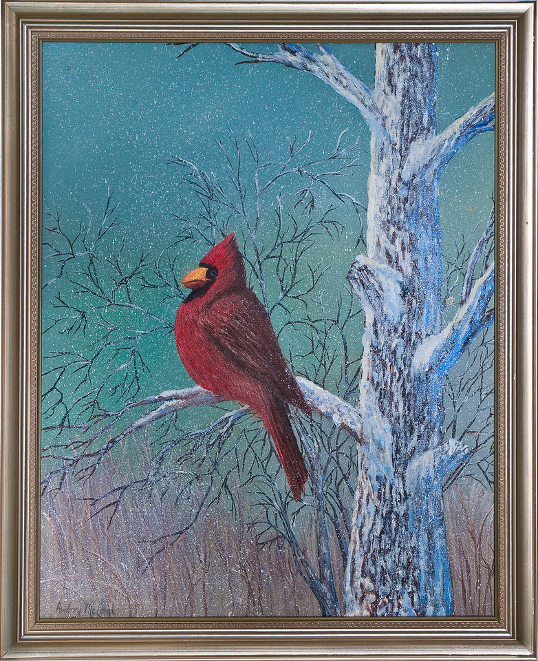 "Name: Snowy Day Cardinal<br /> Medium: Oil<br /> Size: 16""X20""<br /> Price: SOLD!<br /> Contact: Audrey McLeod<br /> E-Mail: riverartist@aol.com"