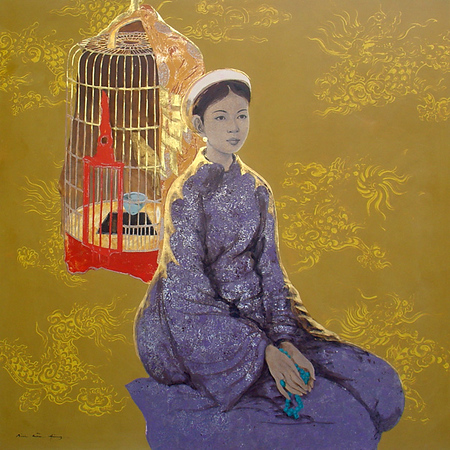 Bui Huu Hung - Young Girl with Bird Cage