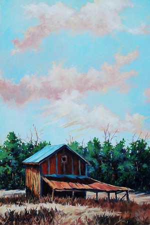 Name of Picture: BARN SERIES RED MORNING Medium: OILS Size: 16 X 20 Price: $ 500.00  Contact: 843-454 6038 E-Mail: dennystevenso@aol.com